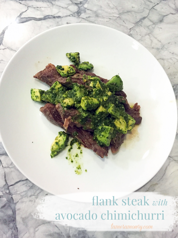 Flank Steak with Avocado Chimichurri