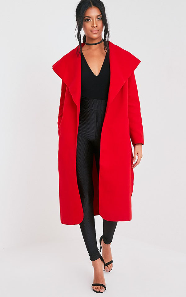 Red Waterfall Coat - New Years Eve Outfit Ideas - Tamera Mowry