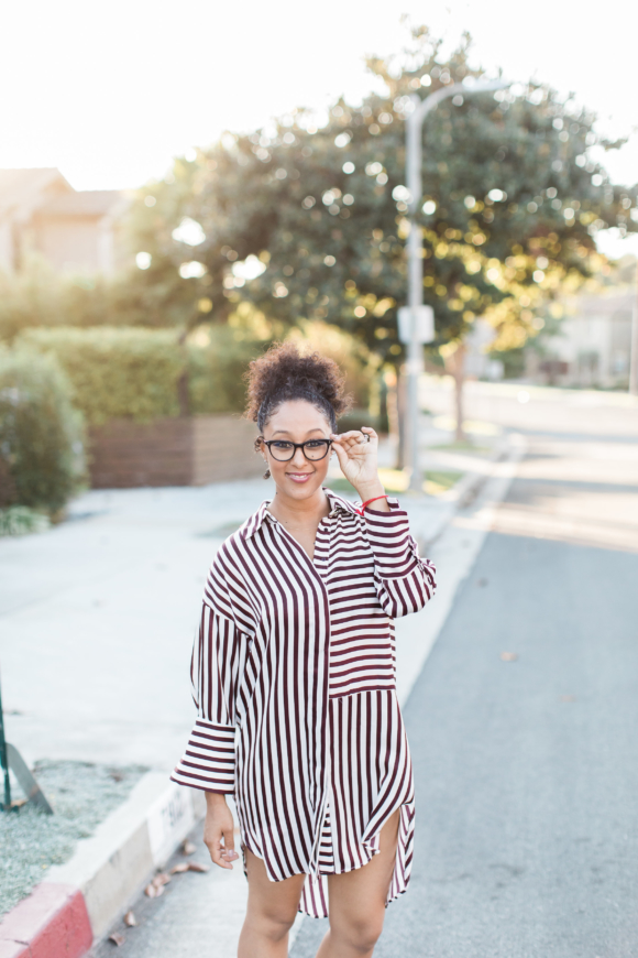 Tamera Mowry shirt dress